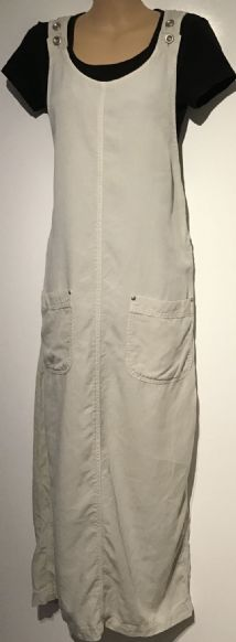 CREAM DENIM MIDI PINAFORE DUNGAREE DRESS SIZE 14-16
